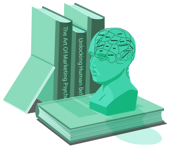 Marketing theory and Marketing psychology books and model of human head with all parts of brain labelled on top of a book