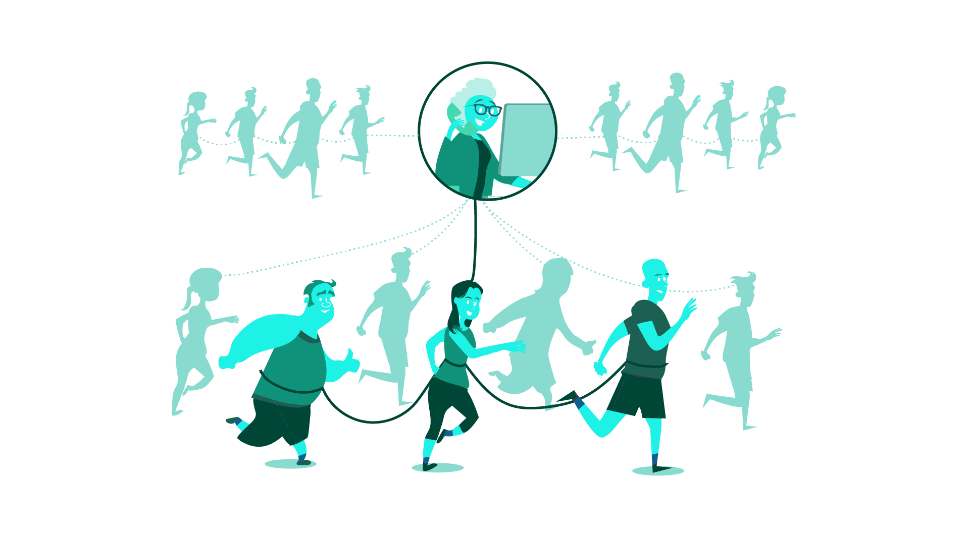 Running club example illustrating strong and weak links between each connection