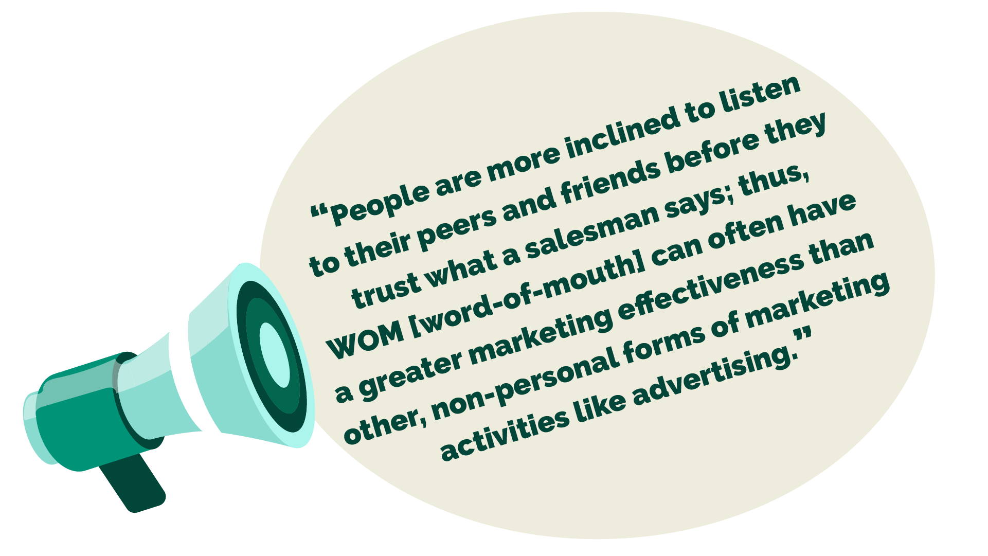 """Quote: """"People are more inclined to listen to their peers and friends before they trust what a salesman says; thus, WOM [word-of-mouth] can often have a greater marketing effectiveness than other, non-personal forms of marketing activities like advertising."""""""