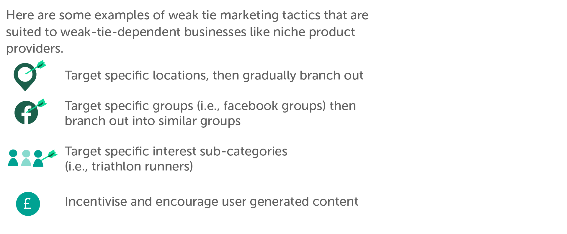 Here are some examples of weak tie marketing tactics that are suited to weak-tie-dependent businesses like niche product providers. Gradual expansion (branching out from specific locations) Target specific groups (i.e., facebook groups) then branch out into similar groups Target specific interest sub-categories (i.e., triathlon runners) Incentivise and encourage user-generated content