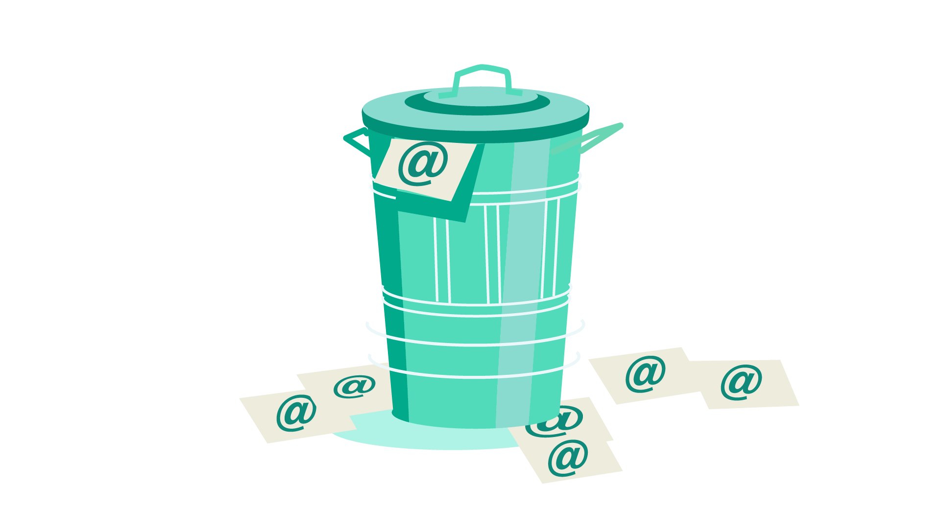 Trash can full of emails